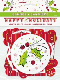 Happy Holidays Holly Jointed Banner