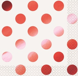 Red Foil Polka Dot Beverage Napkins 16 Pack