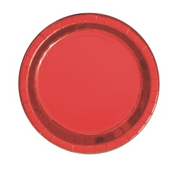 Red Foil Round Paper Plates 8 Pack 18cm