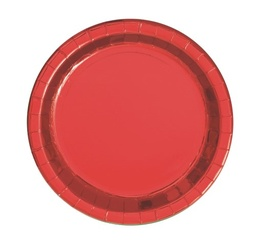 Red Foil Round Paper Plates 8 Pack 23cm