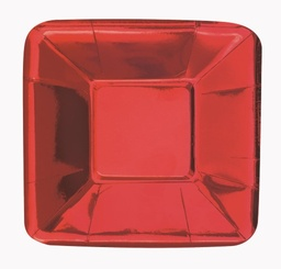 Red Foil Square Appetizer Paper Plates 8 Pack