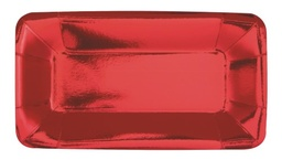 Red Foil Rectangle Appetizer Paper Plates 8 Pack