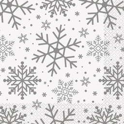 Silver Snowflake Lunch Napkins 16 Pack