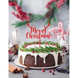 Merry Christmas Cake Topper With Antlers - Style 2