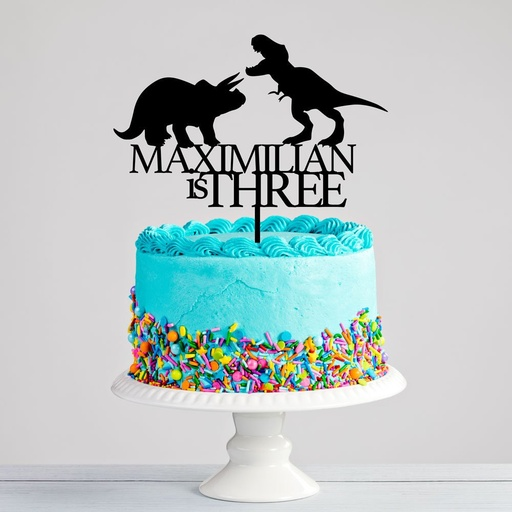 Custom Dinosaurs Name & Age Birthday Cake Topper