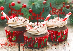 Merry Christmas Cupcake Toppers 5 Pack