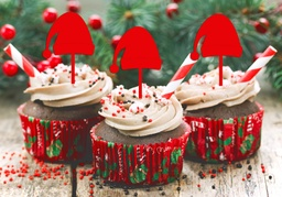 Santa Hat Christmas Cupcake Toppers 5 Pack