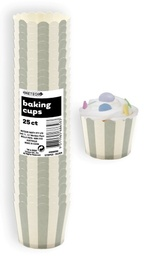 Silver Stripe Baking Cups 25pk