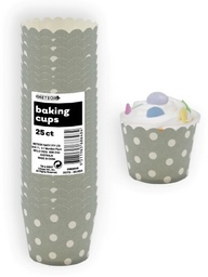 Silver Polka Dot Baking Cups 25pk
