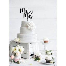 Mr and Mrs with Heart Wedding Cake Topper
