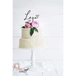 Love Script with Heart Wedding Cake Topper