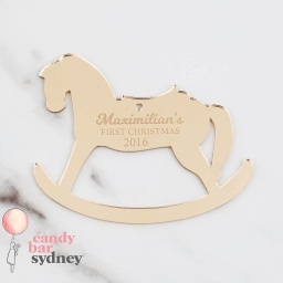 Custom First Christmas Rocking Horse Decoration