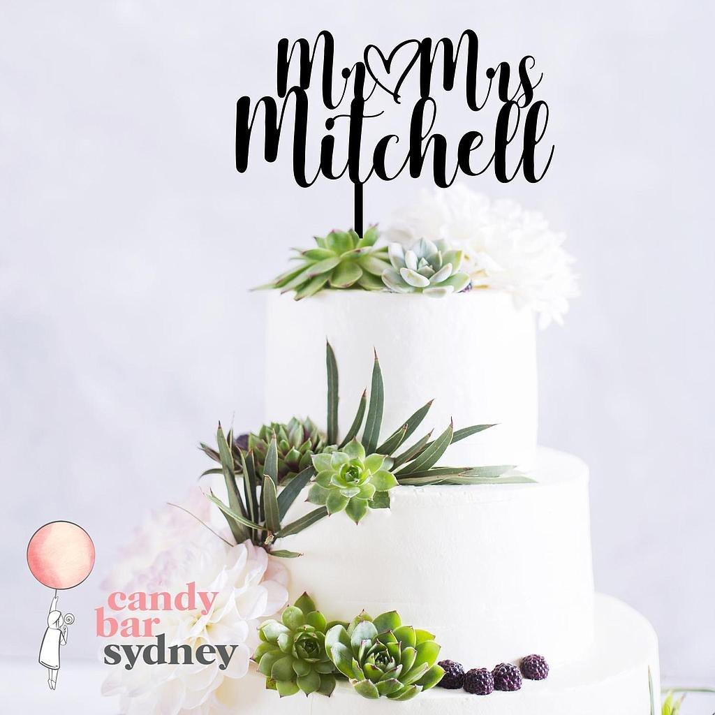 Mr Mrs Personalised Wedding Cake Topper Style 1 Candy Bar Sydney