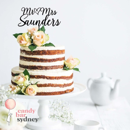 Mr & Mrs Personalised Wedding Cake Topper Style 4