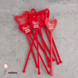 Personalised Heart Drink Stirrers Style 3
