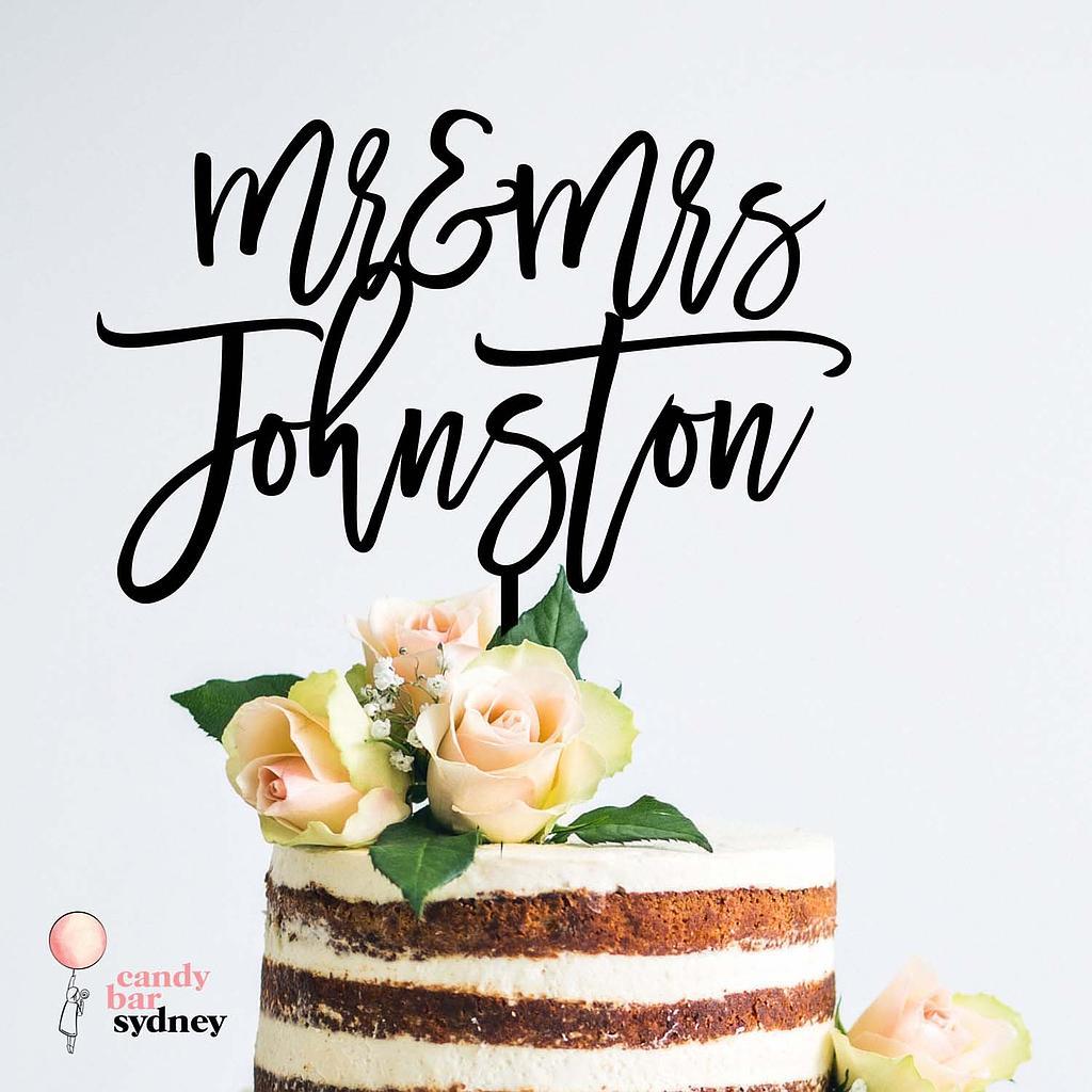 Mr Mrs Personalised Wedding Cake Topper Style 6 Candy Bar Sydney