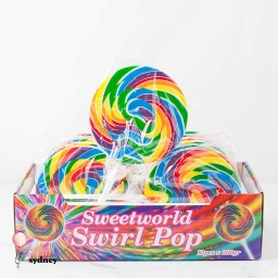 Mega Swirl Rainbow Lollipops 200g - 12 Pack