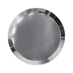 Metallic Silver Paper Snack Plate 10pk