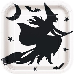 Scary Witch Square Paper Plates 23cm 8 Pack