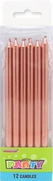 Elegant Tall Rose Gold Candles 12 pack