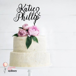 Couples Names Wedding Cake Topper - Style 7