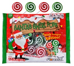 Santa's Red & Green Swirl Pops with Tongue Tattoo 504g