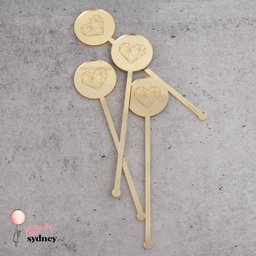 Geometric Heart Drink Stirrers