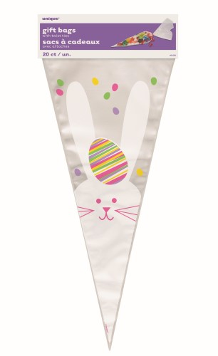 Easter Bunny Cone Cello Bags 8 Pack