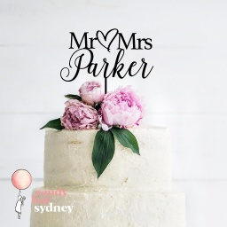 Mr & Mrs Custom Wedding Cake Topper Style 8