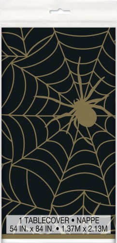 Black & Gold Spiderweb Printed Tablecover 137cm X 213cm