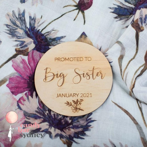 Personalised Promoted to Big Sister Baby Announcement