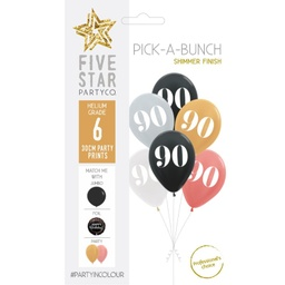 90th Birthday Assorted 30cm Balloons 6pk