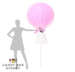 Luxe Designer Giant Balloon with Tulle Wrap and Florals