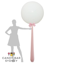 Luxe Designer Giant Balloon with Tulle Draping and Bow