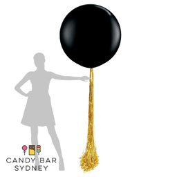 Luxe Designer Giant Balloon with Flowing Tinsel Drape