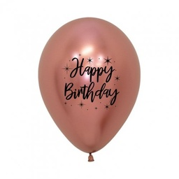 [CB62350] Happy Birthday Radiant Reflex Rose Gold 30cm Latex Balloon