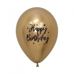 [CB62351] Happy Birthday Radiant Reflex Gold 30cm Latex Balloon
