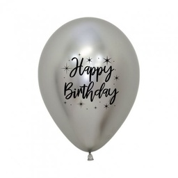 [CB62352] Happy Birthday Radiant Reflex Silver 30cm Latex Balloon