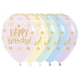 [CB62353] Happy Birthday Sunshine Pastel Matte 30cm Latex Balloon